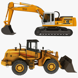 realistic wheel loader excavator model