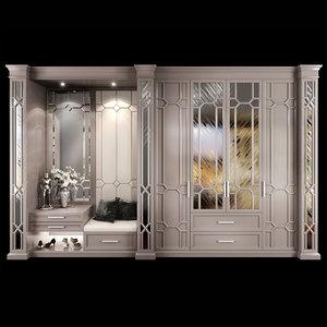 3D wardrobe hallway composition set model