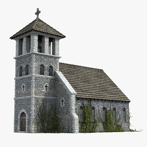 3D medieval church european europe model