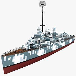 fletcher class destroyers fletcher-class 3D model