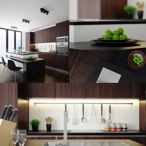 3D render scene modern kitchen