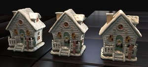 3D white christmas house 2020 model