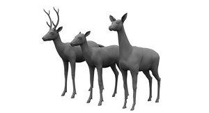 3D deers animal