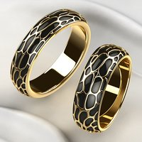 Wedding Golden Rings with Rhodium Plating