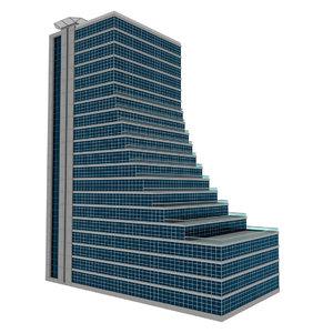 modelled skyscraper terraces simple 3D model