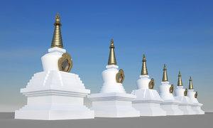 3D stupa white