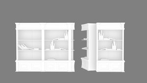 3D colonial bookcase