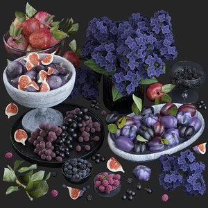 3D fruits purple