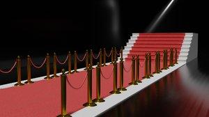 3D red carpet barrier model
