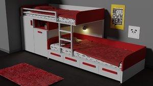 3D bed bunk modern