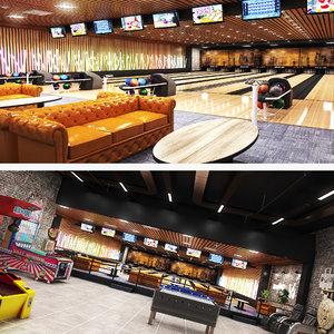 3D model realistic bowling arcade center