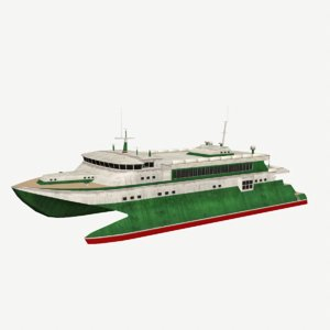 ferry low-poly catamaran model