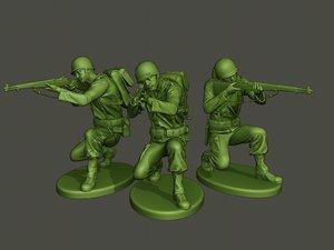 american soldier ww2 shoot 3D