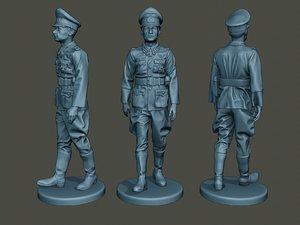 3D model german officer ww2 walk