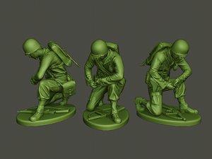 3D american soldier ww2 grenade