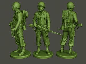 3D model american soldier ww2 stand