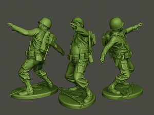 american soldier ww2 throwing 3D model