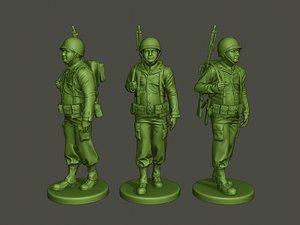 american soldier ww2 walk 3D model