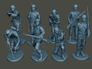 german soldiers ww2 g1 3D model