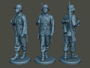 german soldier ww2 walk 3D model