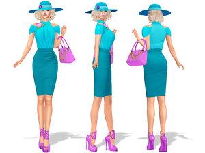 elegant teal outfit 3D model