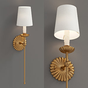 3D model sconce antique gold leaf