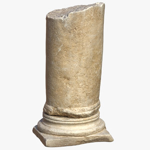 3D medieval stone column piece model