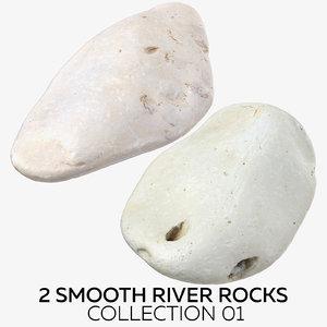 2 smooth river rocks 3D model