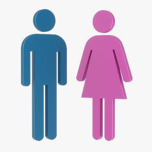 male female figures 3D model