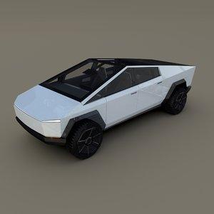3D model tesla cybertruck chassis interior