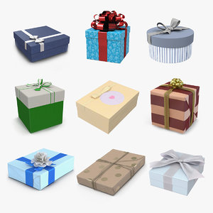 giftboxes 3 gifts box 3D model