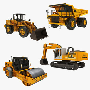 3D crawler excavator steamroller loader model