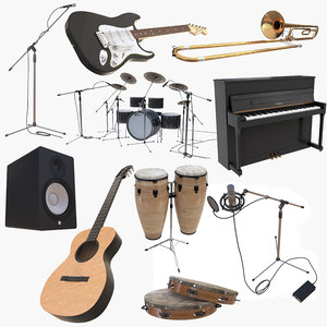 3D instruments guitar piano stand model