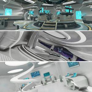 sci-fi laboratory control room 3D model