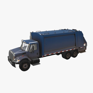 3D navistar international 7400 garbage truck model