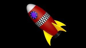 design cartoon space rocket model