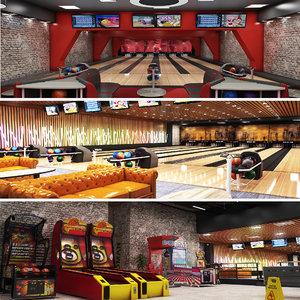 bowling arcade center basketball 3D model