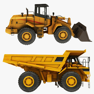 3D loader mining truck wheel model