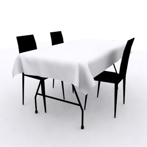 3D plastic chairs table cloth model