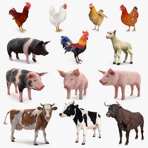 farm animals big rigged 3D