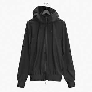 3D model realistic jacket black hanger