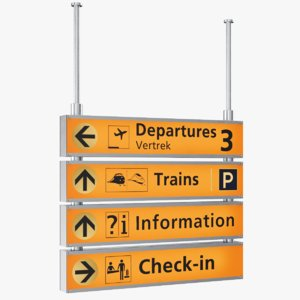 3D real airport sign