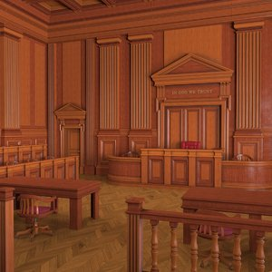 3D courtroom interior