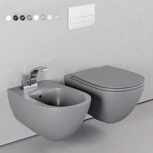 wall-hung toilet bidet 3D model