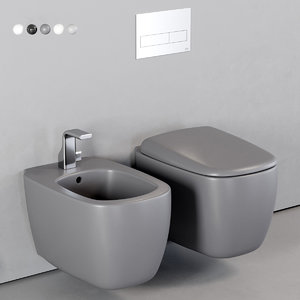mono wall-hung toilet bidet 3D