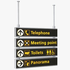 3D model real airport sign