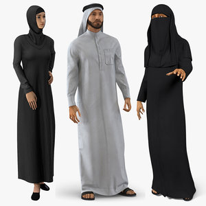 3D arab people 2 rigged