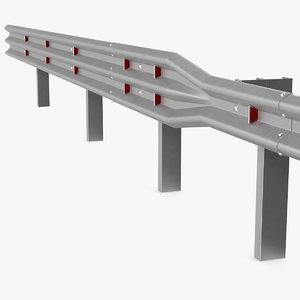galvanized highway guardrail barrier 3D model