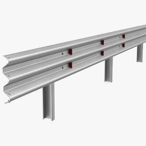 3D model metal traffic double barrier