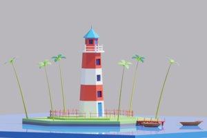 3D cartoon simple light house